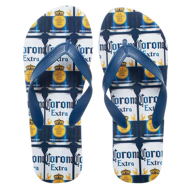 Corona Extra Beer Repeating Can Labels Unisex Sandals