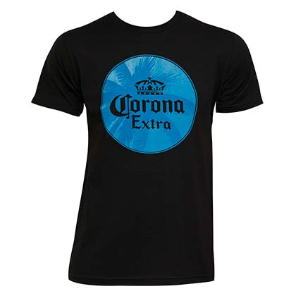 Corona Extra Palm Tree Logo Navy Blue Tee Shirt