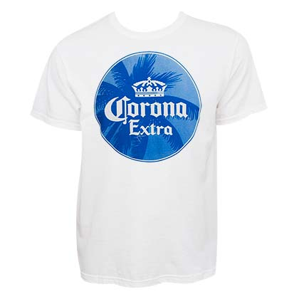 Corona Extra Men's White Palm Tree Logo T-Shirt