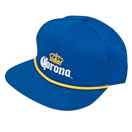 Corona Blue Flat Bill 5 Panel Snapback Hat