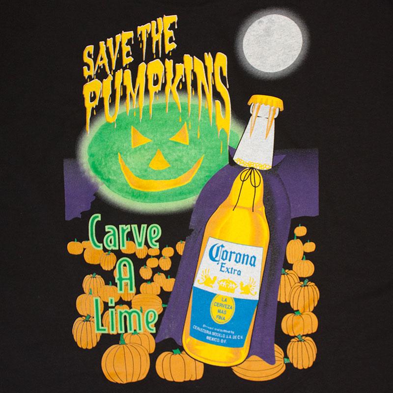 Corona Extra Save The Pumpkins Carve A Lime Black Tee Shirt