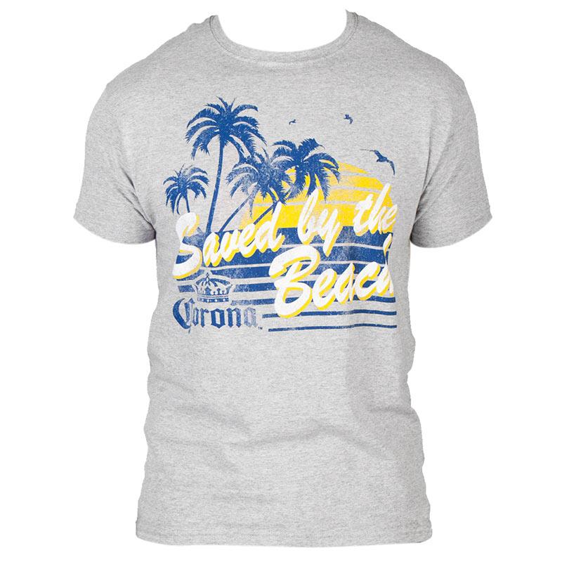 Corona Saved By The Beach Men's Gray Tee Shirt