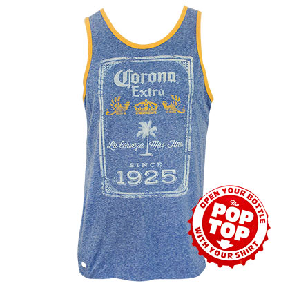 Corona Extra Men's Blue Since 1925 Pop Top Bottle Opener Tank Top