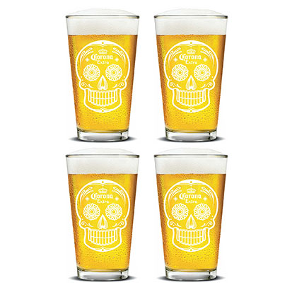 Corona Extra Set Of 4 Skull Logo Pint Glasses