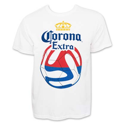 Corona Extra Soccer Red And Blue Logo T-Shirt