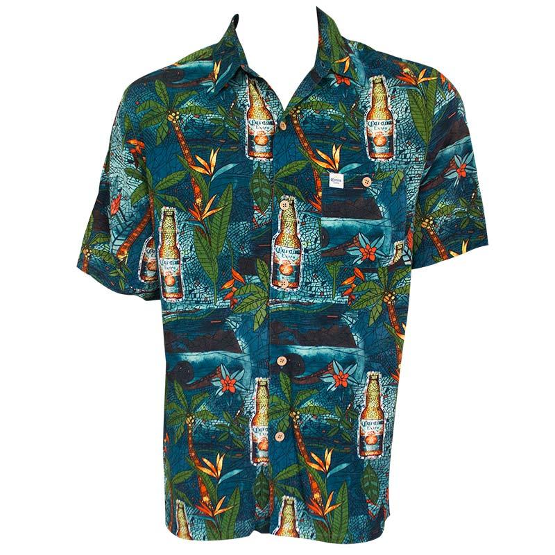 Corona Extra Midnight Stained Glass Aloha Men's Hawaiian Button Down Shirt