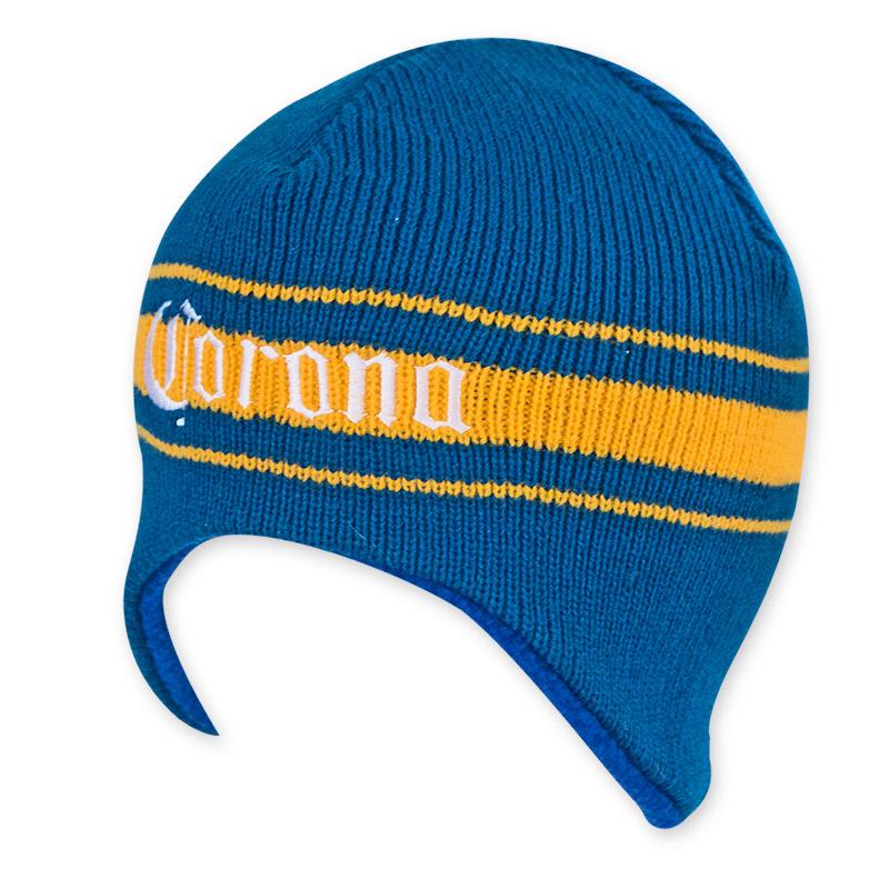 Corona Extra Women's Yellow And Blue Beer Logo Beanie