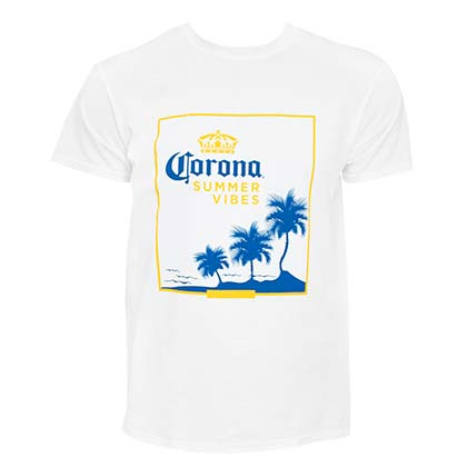 Corona Men's White Summer Vibes T-Shirt