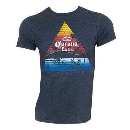 Corona Extra Men's Blue Triangle Logo T-Shirt