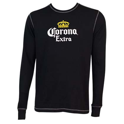 Men's Corona Extra Beer Black Thermal Shirt