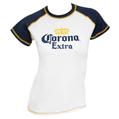 Corona Extra Women's White Two Tone T-Shirt
