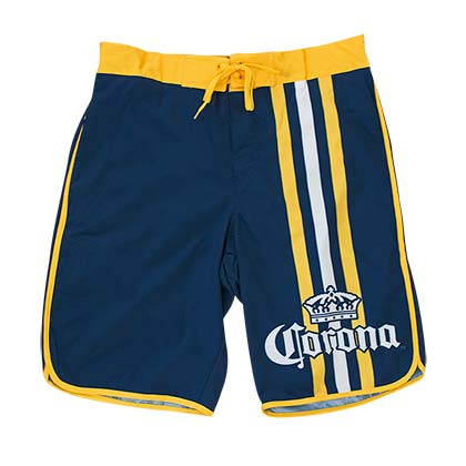 Men's Corona Beer Navy Blue Vertical Racing Stripes Board Shorts