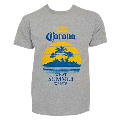 Corona What Summer Wants Palms Men's Grey Tee Shirt