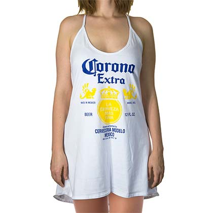 Corona Extra Women's White Halter Top Tank Top Dress