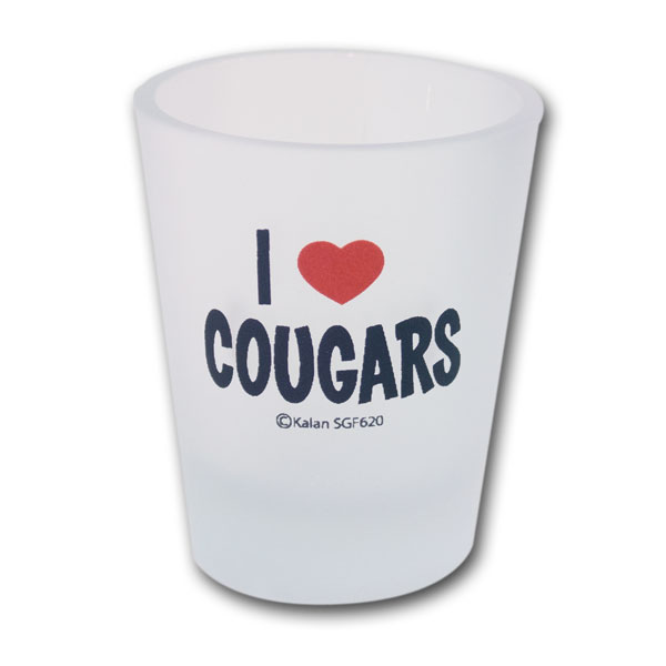 I Love Cougars Frosted Custom Shot Glasses