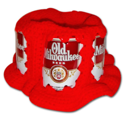 Old Milwaukee Handmade Red Crochet Beer Can Hat
