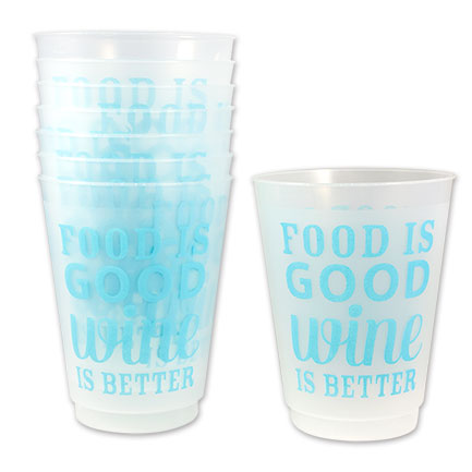 Food is Good Wine is Better 16 oz. Reusable Plastic Cups 8-Pack