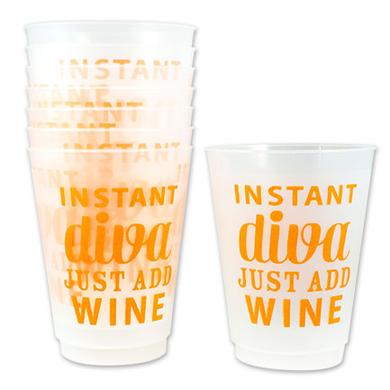 Instant Diva Just Add Wine 16 oz. Reusable Plastic Cups 8-Pack