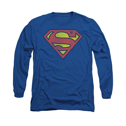 Superman Distressed Shield Logo Long Sleeve T-Shirt