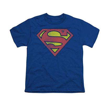 Superman Distressed Logo Blue Youth Unisex T-Shirt