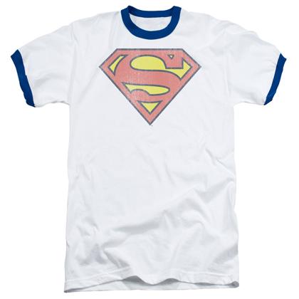 Superman Retro Logo Ringer Tshirt