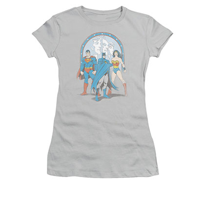 Justice League Trinity Gray Juniors Tee Shirt