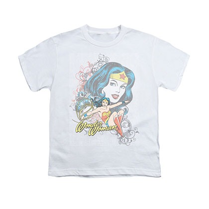 Wonder Woman Scroll White Youth Unisex T-Shirt