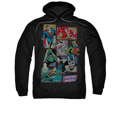 Justice League Boxes Black Men's Pullover Hoodie