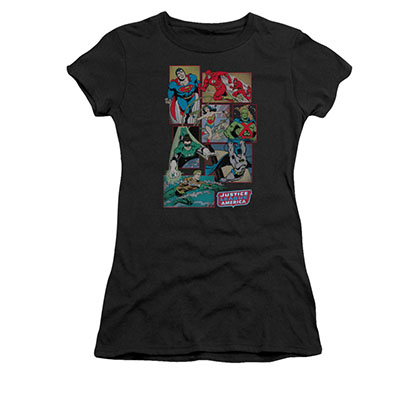 Justice League Boxes Black Juniors Tee Shirt
