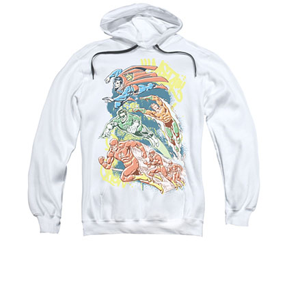 Justice League DC Comics Men's White Halftone Pullover Hoodie