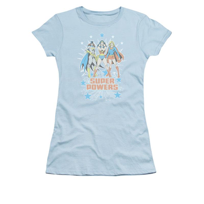 Wonder Woman Batgirl Supergirl Powers Blue Juniors T-Shirt