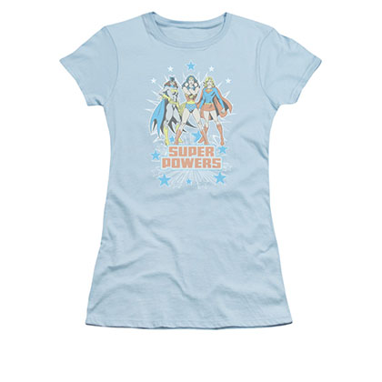 Wonder Woman Batgirl Supergirl Powers Blue Juniors T-Shirt