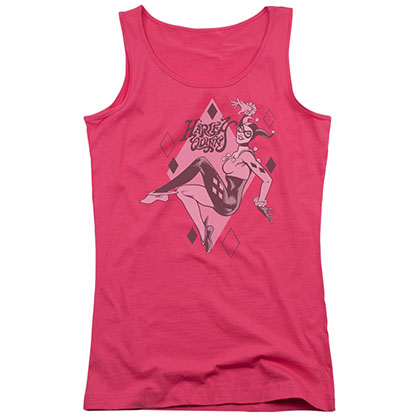 Harley Quinn Diamonds Pink Juniors Tank Top