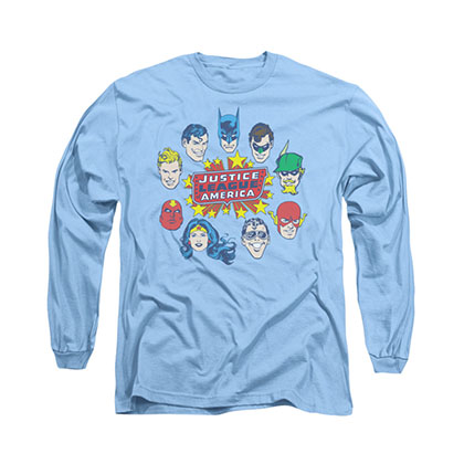 Justice League Head Circle Blue Long Sleeve T-Shirt
