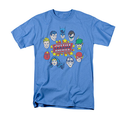 Justice League Circle Faces Blue Tee Shirt