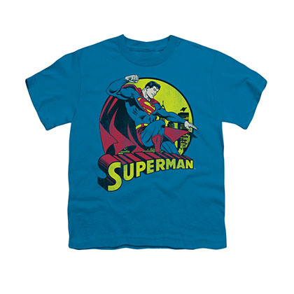 Superman Comic Circle Blue Youth Unisex T-Shirt