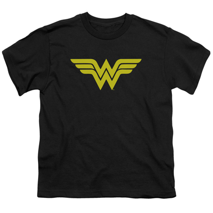 Wonder Woman Classic Logo Youth Black Tshirt