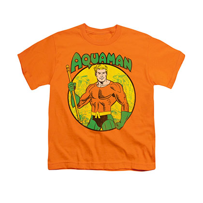 Aquaman Comic Circle Orange Youth Unisex T-Shirt
