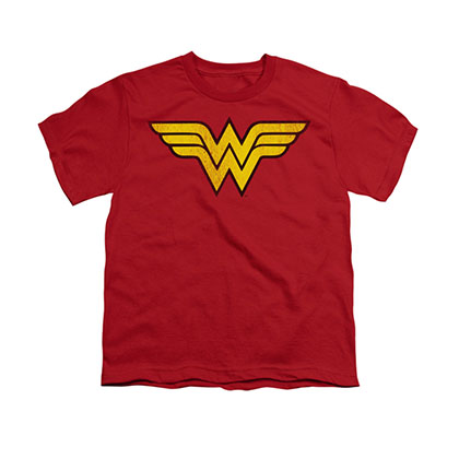 Wonder Woman Distressed Logo Red Youth Unisex T-Shirt