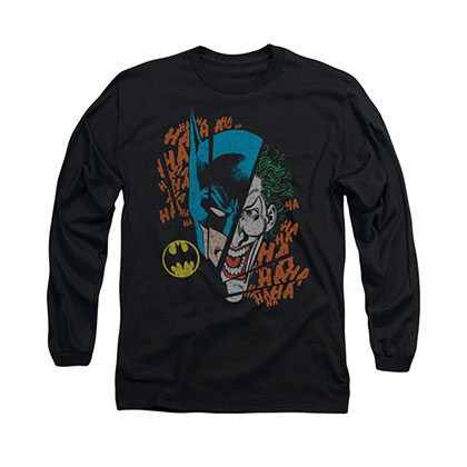 Batman Broken Visage Black Long Sleeve T-Shirt