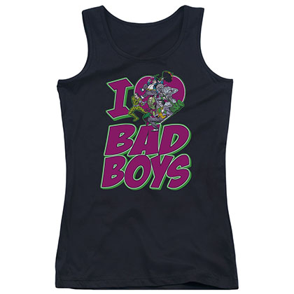 Batman I Heart Bad Boys Black Juniors Tank Top