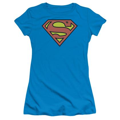Superman Women's Classic Logo Turquoise Tshirt