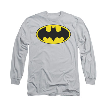 Batman Logo Gray Long Sleeve T-Shirt