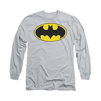 Batman Logo Gray Long Sleeve T-Shirt