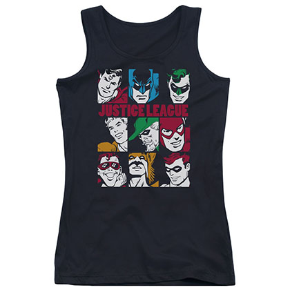 Justice League Blocks Black Juniors Tank Top