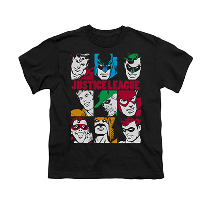 Justice League Blocks Black Youth Unisex T-Shirt