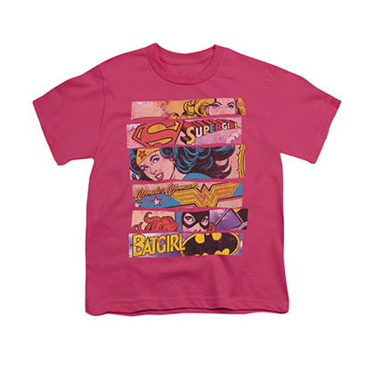Wonder Woman Batgirl Three Of A Kind Pink Youth Unisex T-Shirt