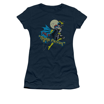 Batman Batgirl Juniors Navy Night Person Tee Shirt