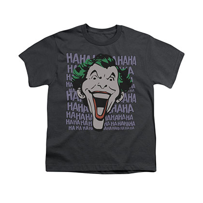 Batman Joker Merriment Gray Youth Unisex T-Shirt