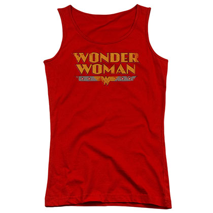 Wonder Woman Title Logo Red Juniors Tank Top